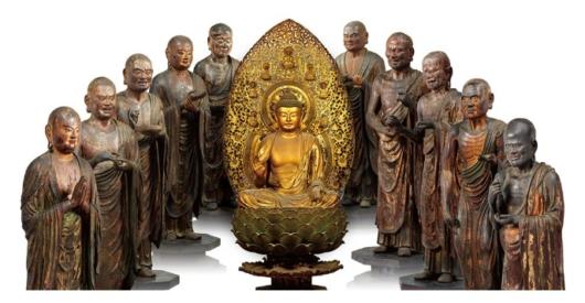 釈迦如来坐像と十大弟子立像